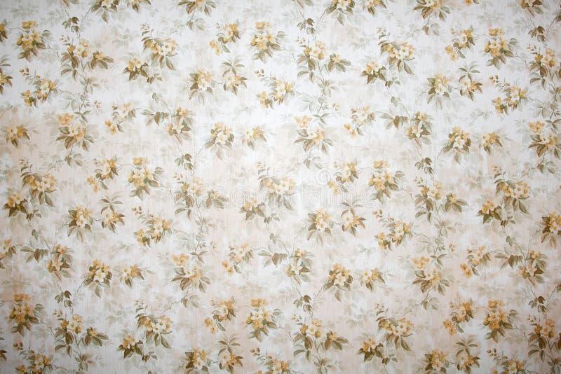葡萄酒墙纸有美好的花卉样式背景 免版税库存照片