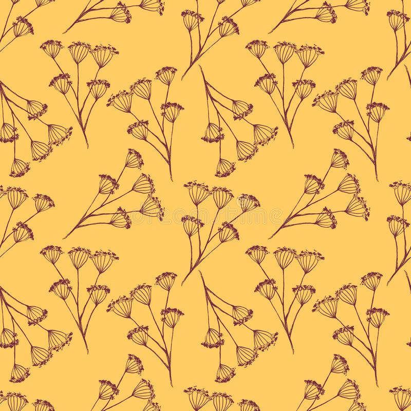 葡萄酒墨水无缝的样式,在黄色背景的红色干燥伞花 皇族释放例证