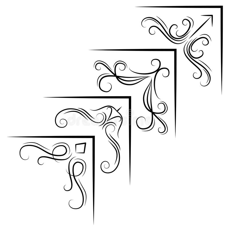 葡萄酒壁角元素 漩涡、金银细丝工的元素和华丽框架 也corel凹道例证向量 库存例证