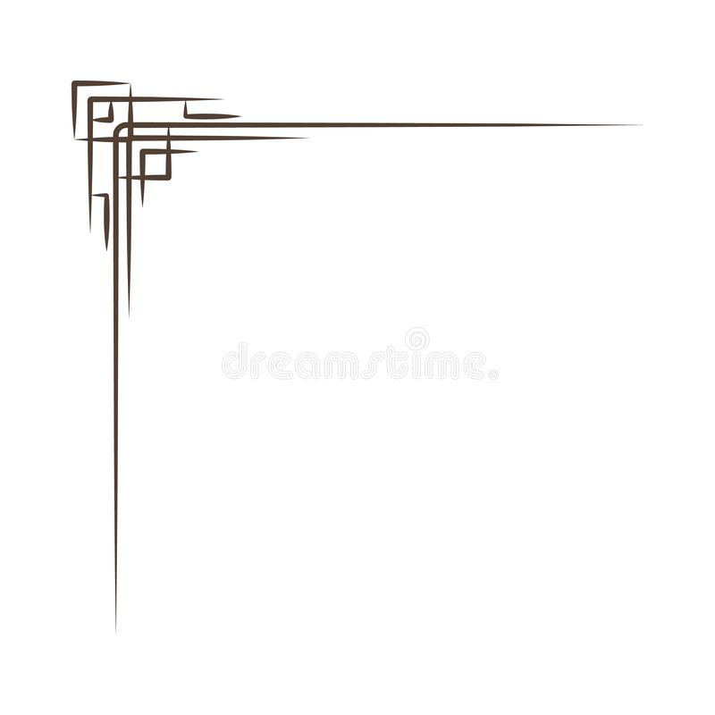 葡萄酒壁角元素 漩涡、金银细丝工的元素和华丽框架 也corel凹道例证向量 背景设计要素空白四的雪花 皇族释放例证