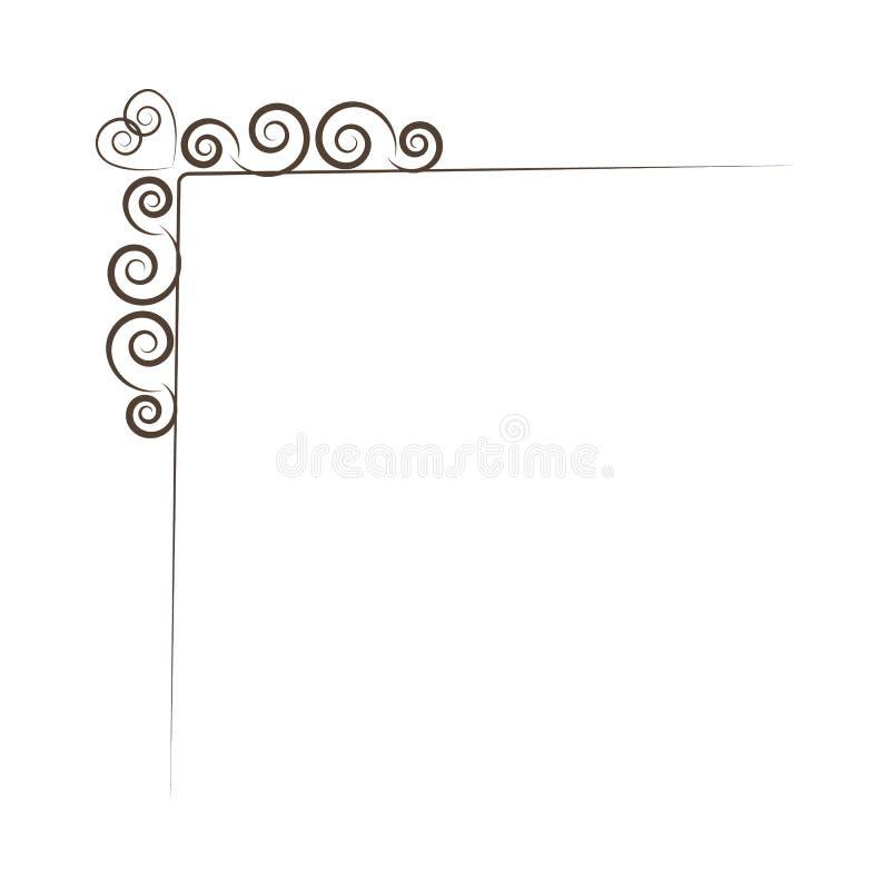 葡萄酒壁角元素 漩涡、金银细丝工的元素和华丽框架 也corel凹道例证向量 背景设计要素空白四的雪花 向量例证