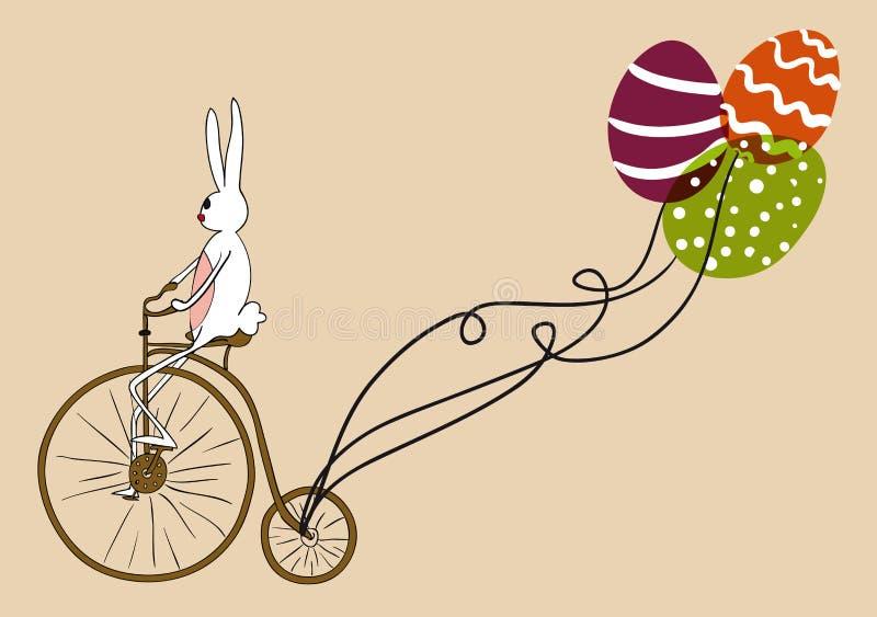 葡萄酒复活节兔子骑自行车的看板卡 向量例证