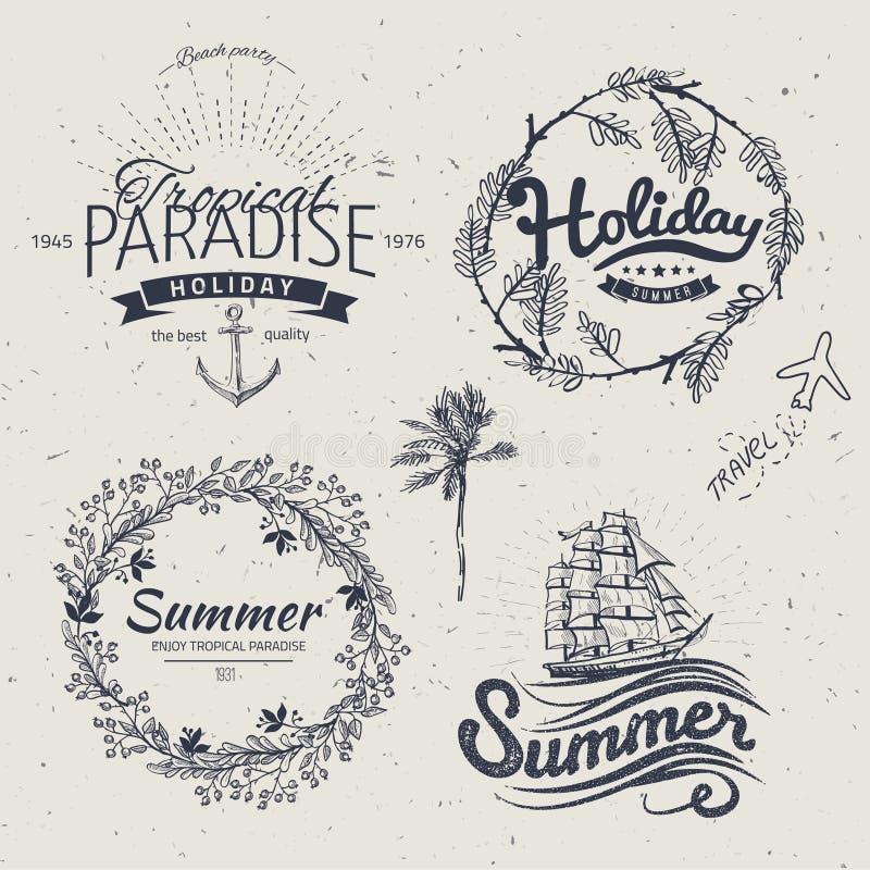 葡萄酒夏天与标签的印刷术设计, 向量例证