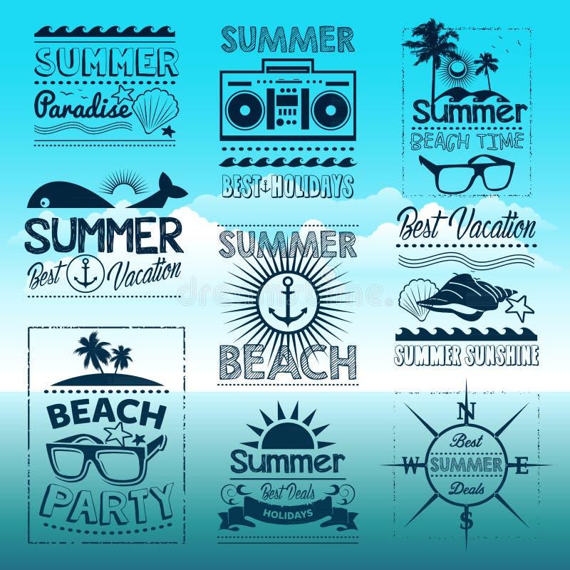 葡萄酒夏天与标签的印刷术设计 库存例证