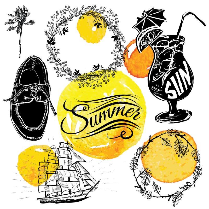 葡萄酒夏天与标签的印刷术设计 向量例证