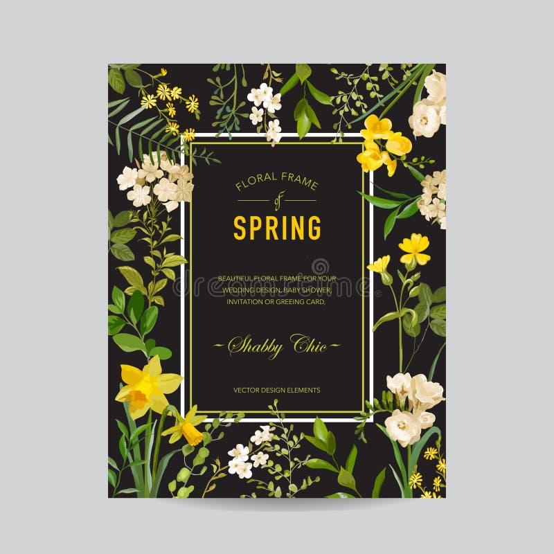 葡萄酒夏天和春天花卉框架 水彩邀请的,婚礼,婴儿送礼会卡片领域花 皇族释放例证