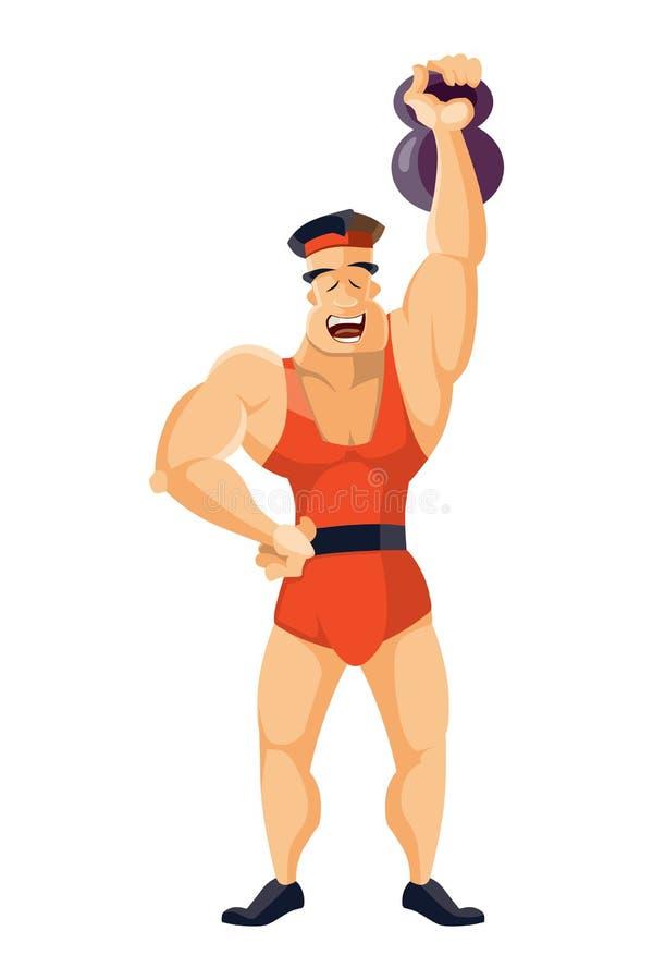 葡萄酒大力士 古老运动员 减速火箭的爱好健美者 坚强的力量马戏演员 向量例证