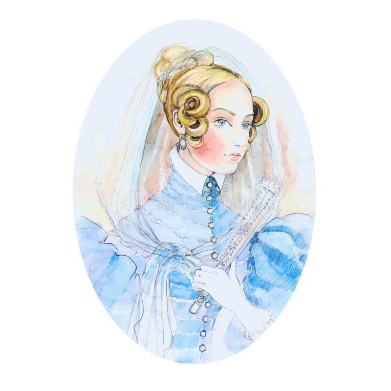 葡萄酒夫人水彩画象 r 一个女孩的美丽的水彩画象从过去的 库存例证