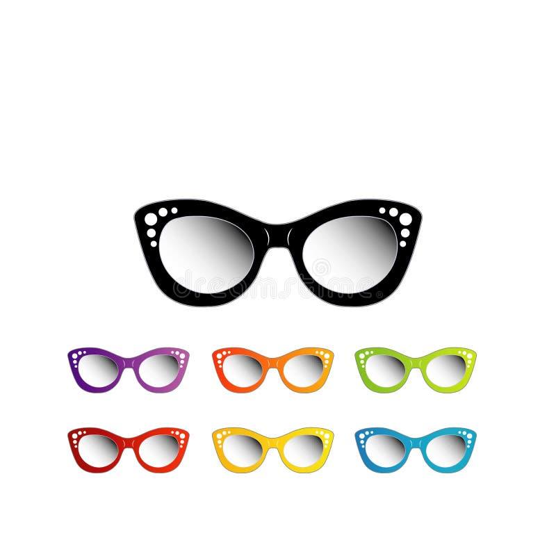 葡萄酒夫人的猫眼eyewear 向量例证
