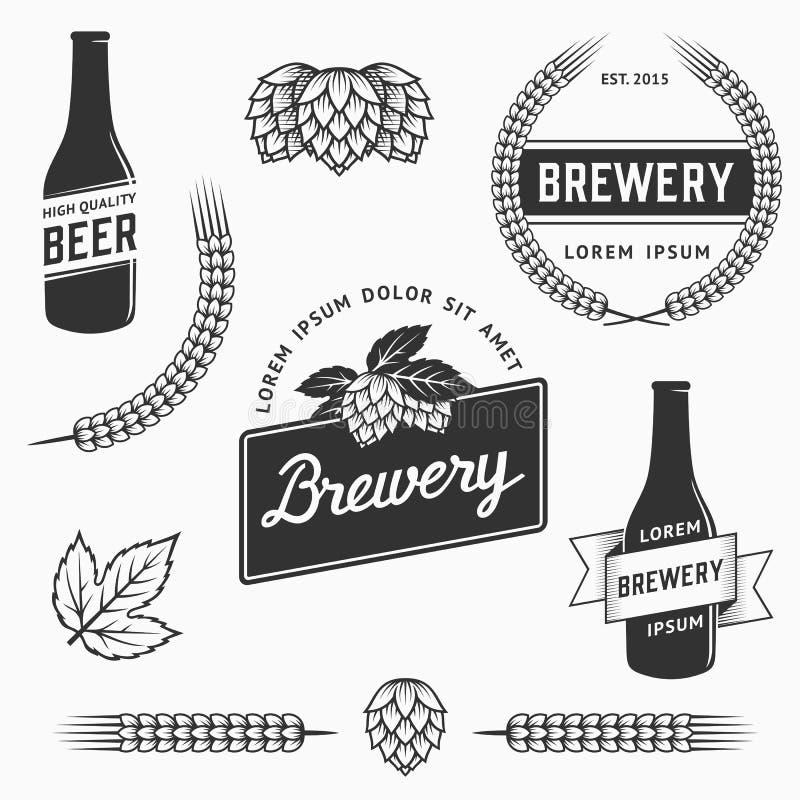 葡萄酒套啤酒厂商标、标签和设计元素 储蓄传染媒介 皇族释放例证