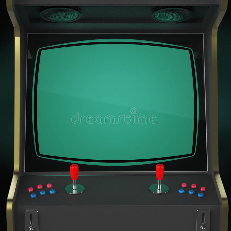 葡萄酒娱乐游戏有映象点心脏被隔绝的象五颜六色的控制器和屏幕的机器内阁 图库摄影