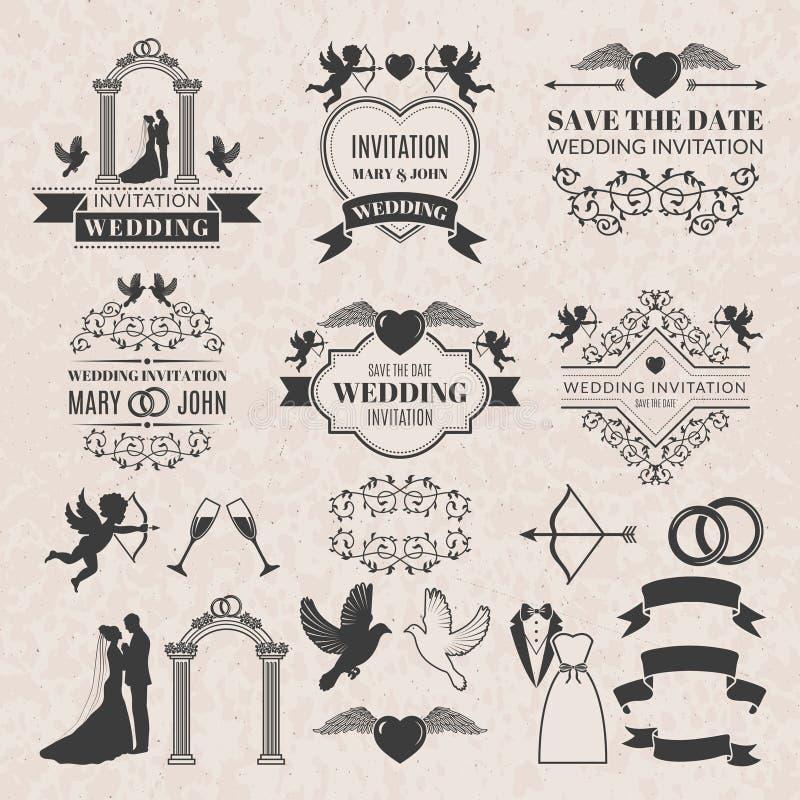 葡萄酒婚姻的邀请的标号组 徽章被设置的向量 向量例证