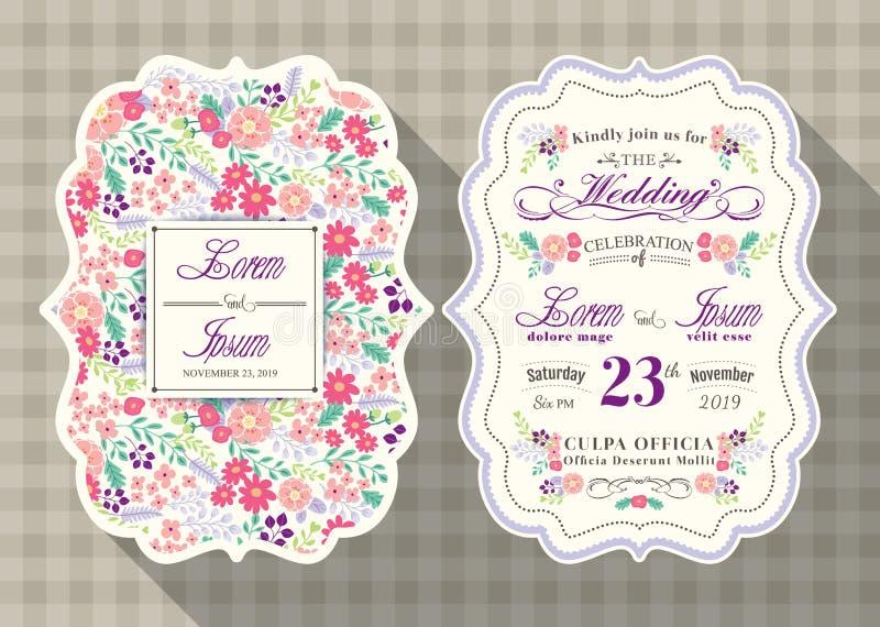 葡萄酒婚礼与花模板的邀请卡片 向量例证
