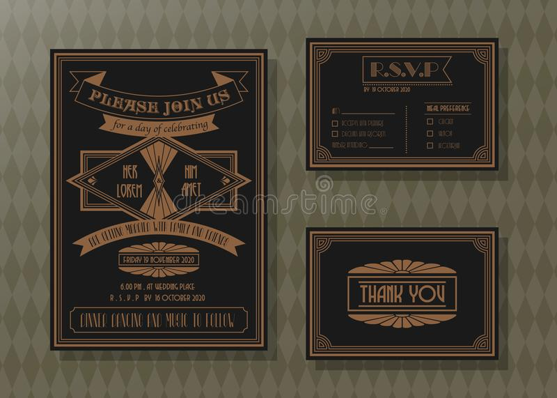 葡萄酒婚礼邀请卡片传染媒介模板集合 库存例证