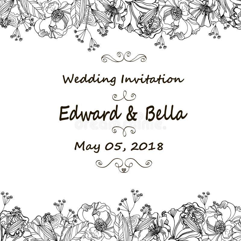 葡萄酒婚礼邀请 手拉的传染媒介草甸花和 库存例证