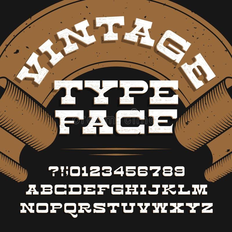 葡萄酒字体 减速火箭的困厄的字母表向量字体 平板细体信件和数字 皇族释放例证
