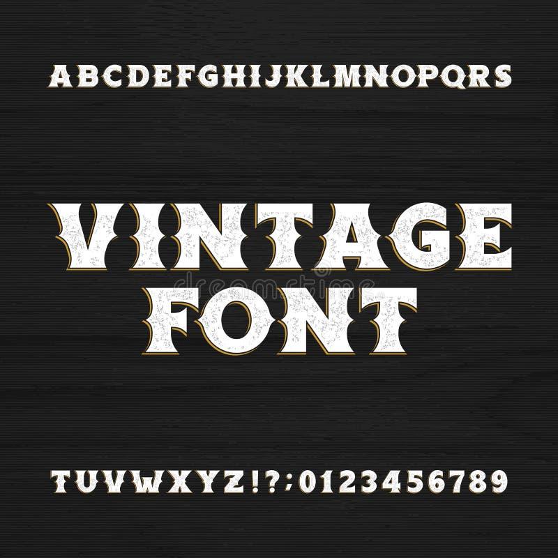 葡萄酒字体 在木背景的减速火箭的困厄的字母表字体 向量例证