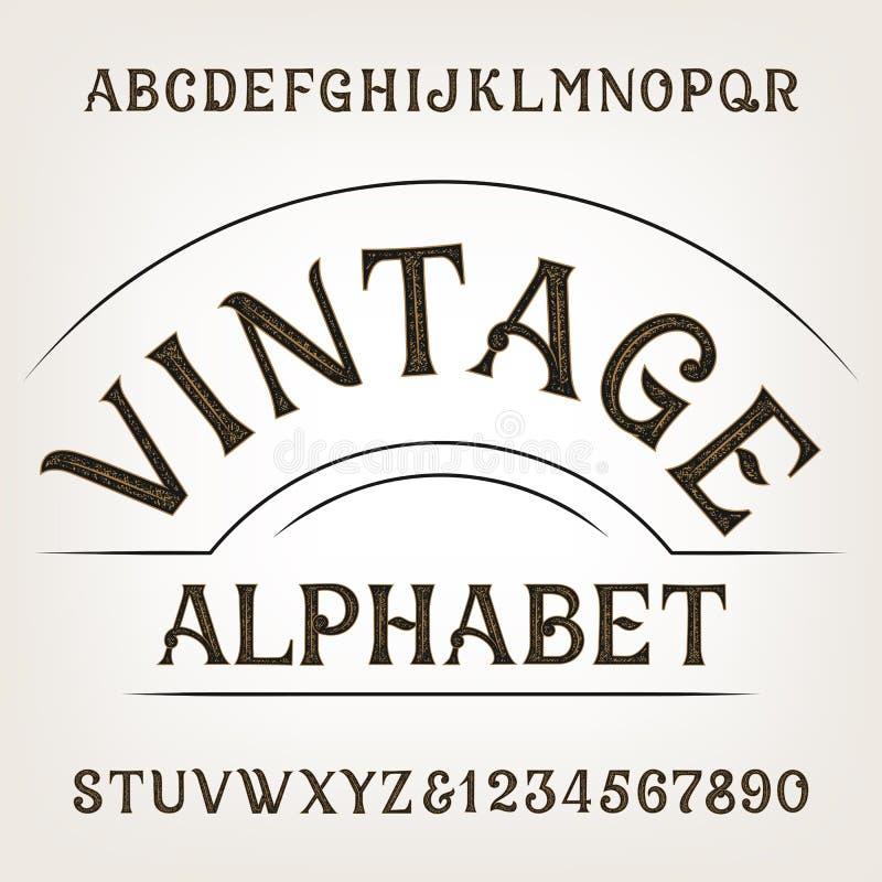 葡萄酒字母表 减速火箭的困厄的字母表向量字体 手拉的信件和数字 皇族释放例证