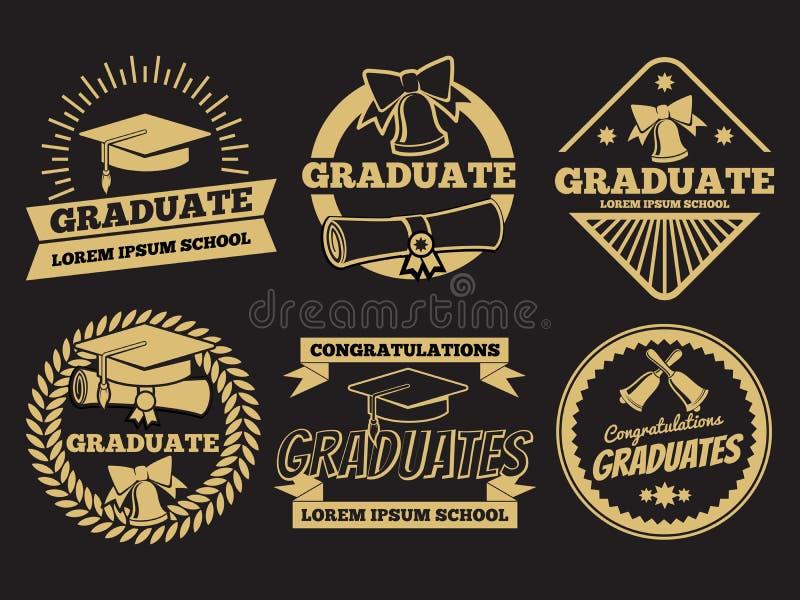 葡萄酒学生毕业生传染媒介徽章 毕业标号组 库存例证
