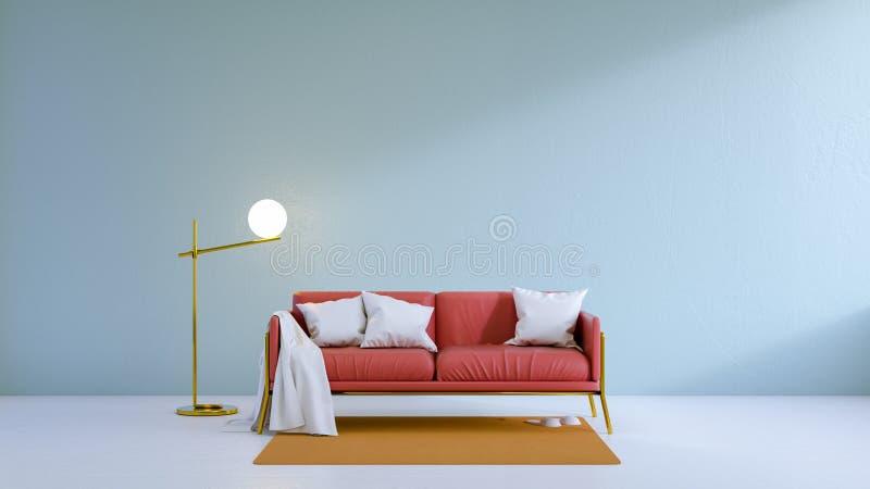 葡萄酒客厅、红色沙发在白色地板上和浅兰的墙壁, 3d回报 库存例证