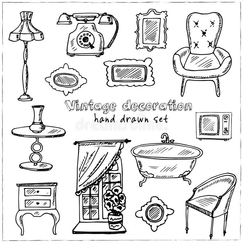 葡萄酒室内装璜手拉的乱画集合 草图 设计和包裹产品的传染媒介例证 向量例证
