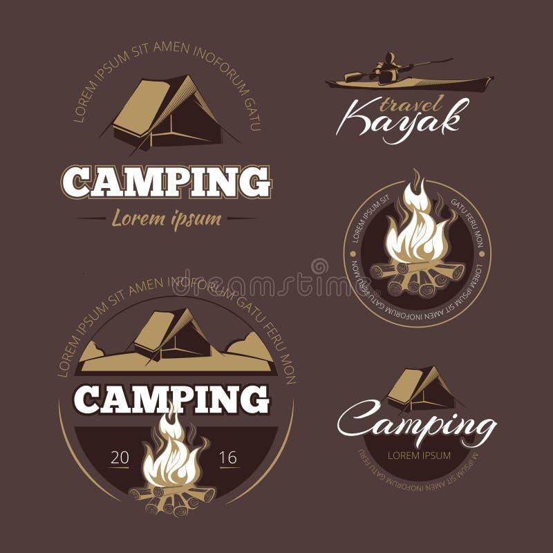 葡萄酒室外冒险和野营的传染媒介颜色标号组 皇族释放例证