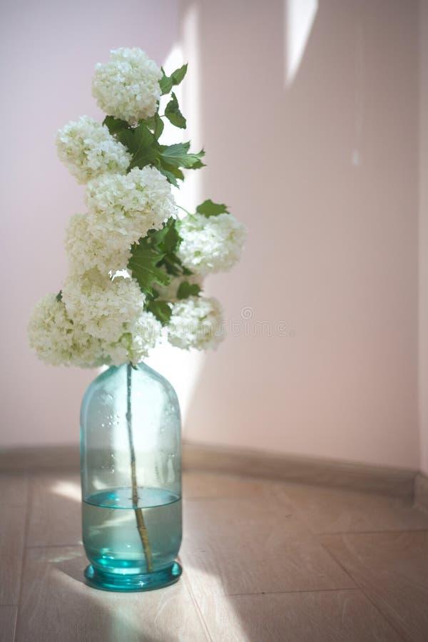 葡萄酒家庭装饰,在蓝色玻璃瓶的白花在地板上 免版税库存照片