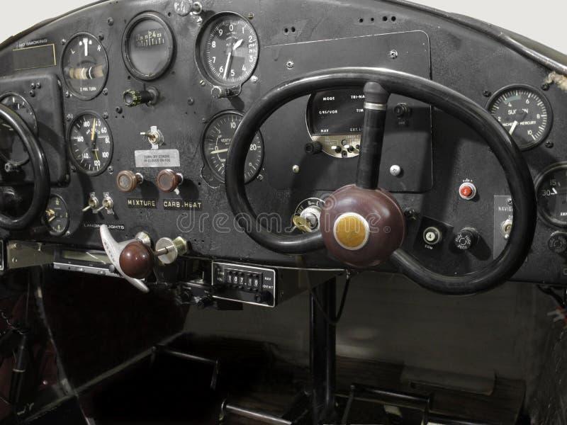 葡萄酒小的飞机驾驶舱 免版税库存图片