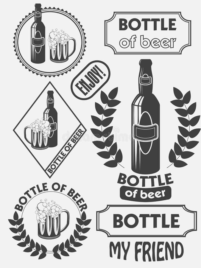 葡萄酒工艺啤酒啤酒厂象征,标签和设计元素 啤酒我的最好的朋友 向量例证