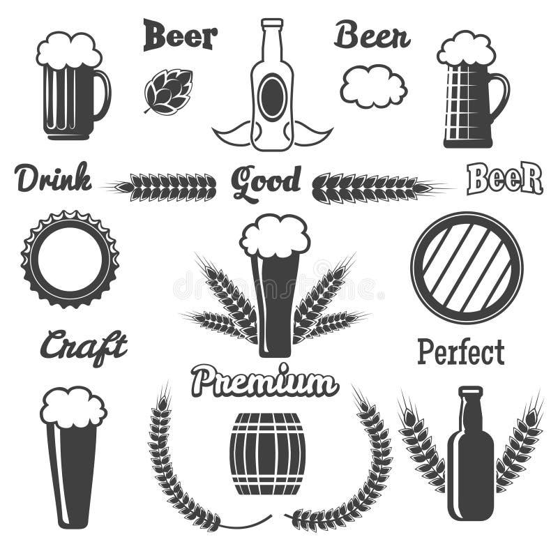 葡萄酒工艺啤酒设计元素 向量例证