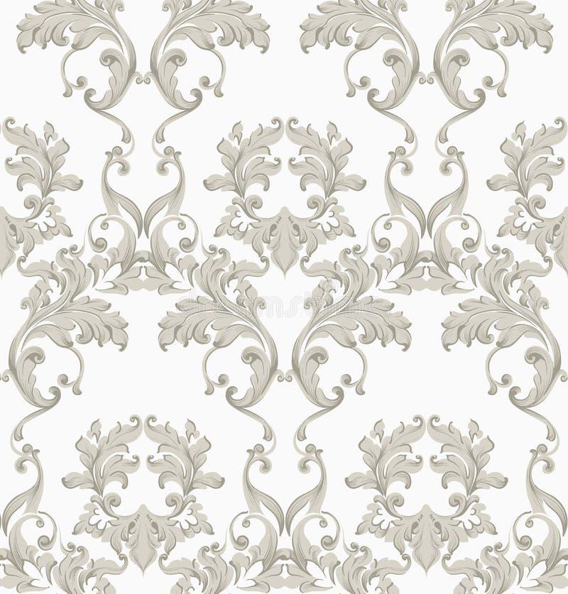 葡萄酒巴洛克式的无缝的纹理样式传染媒介 墙纸装饰品装饰 纺织品,织品,瓦片时髦装饰 皇族释放例证