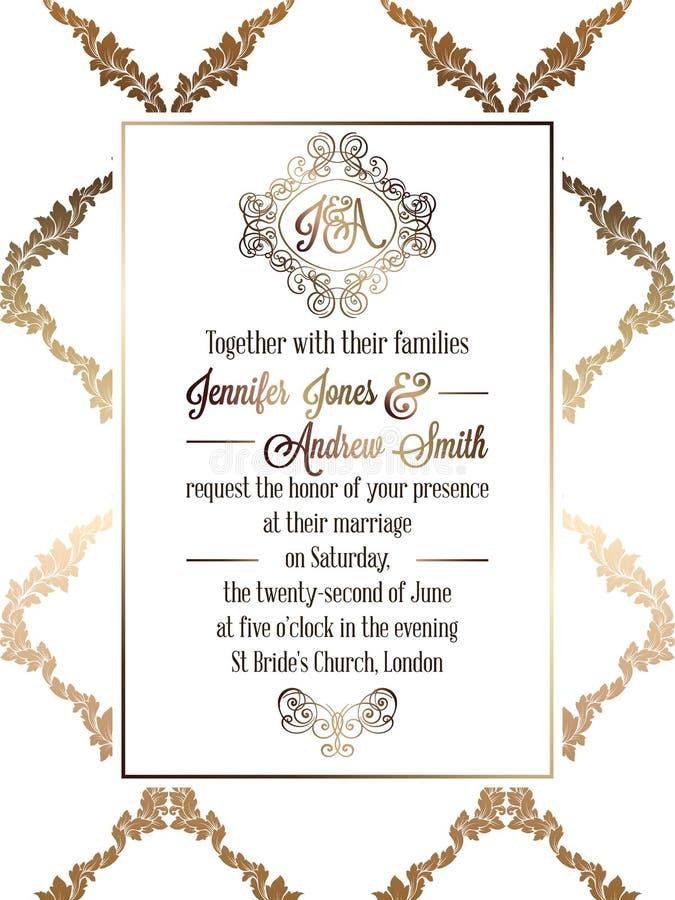 葡萄酒巴洛克式的样式婚礼邀请卡片模板 向量例证