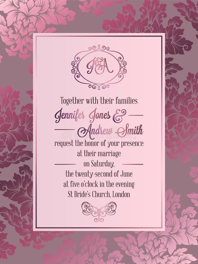 葡萄酒巴洛克式的样式婚礼邀请卡片模板 皇族释放例证