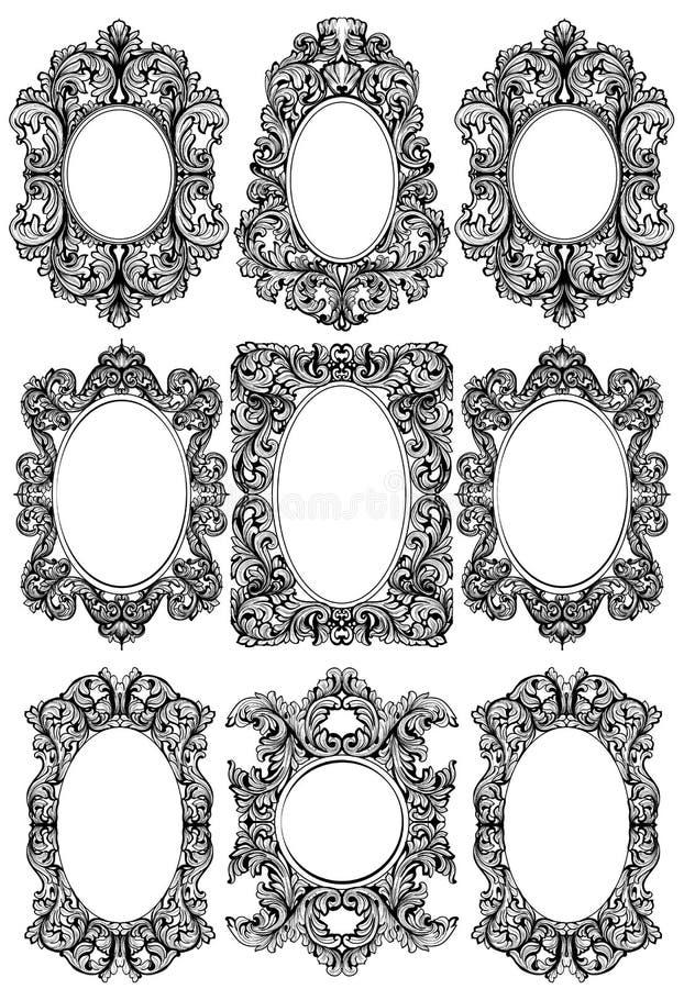 葡萄酒巴洛克式的框架装饰集合 详细的装饰品传染媒介例证 皇族释放例证