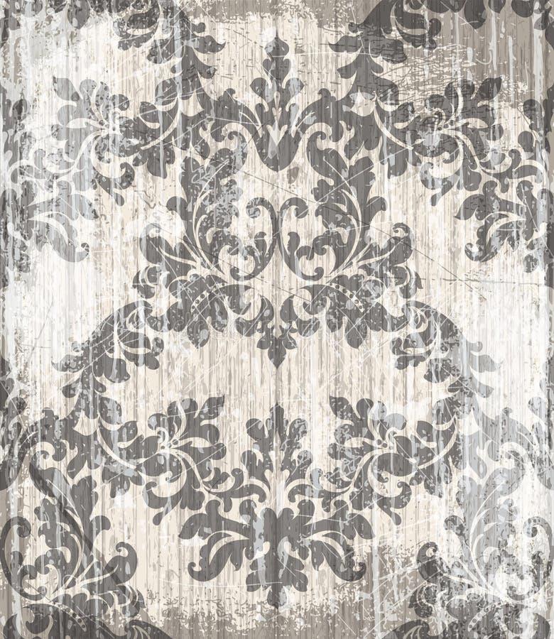 葡萄酒巴洛克式的维多利亚女王时代的样式传染媒介 花饰装饰 叶子纸卷被刻记的减速火箭的难看的东西纹理设计 淡色 库存例证