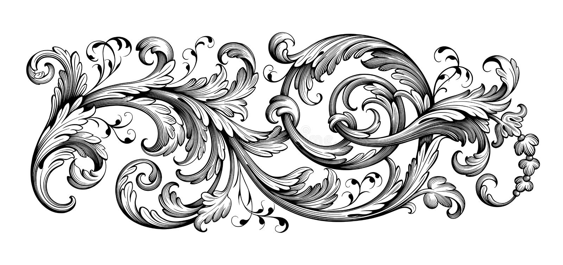 葡萄酒巴洛克式的维多利亚女王时代的框架边界花饰纸卷刻记了减速火箭的纹章学样式纹身花刺书法的传染媒介 向量例证