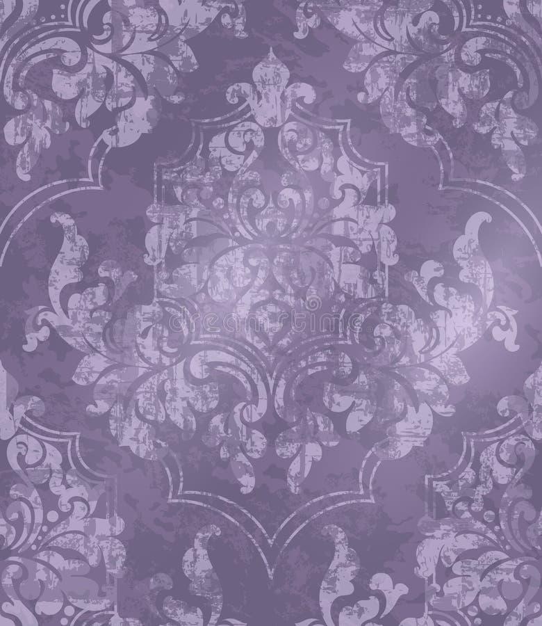 葡萄酒巴洛克式的被装饰的背景传染媒介 维多利亚女王时代的皇家纹理 装饰设计花 紫色颜色装饰 皇族释放例证