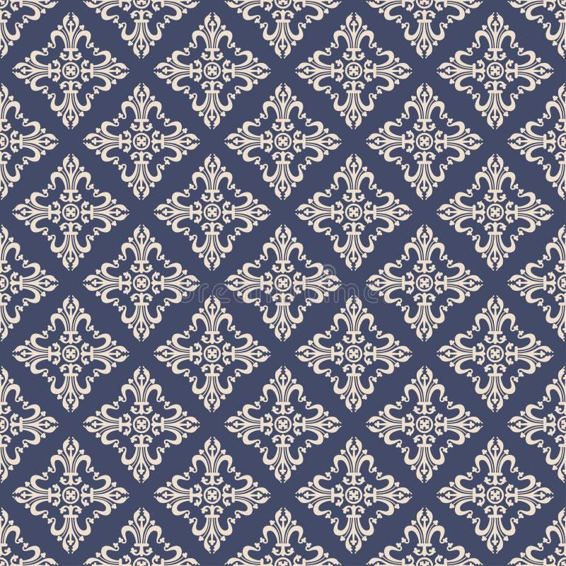 葡萄酒巴洛克式的装饰品,锦缎花卉无缝的样式,传染媒介例证 在水军蓝色背景的米黄东方网眼图案, 皇族释放例证