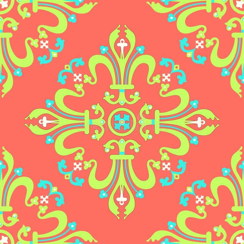 葡萄酒巴洛克式的装饰品,锦缎花卉无缝的样式,传染媒介例证 在珊瑚背景的青绿的东方网眼图案, 库存例证