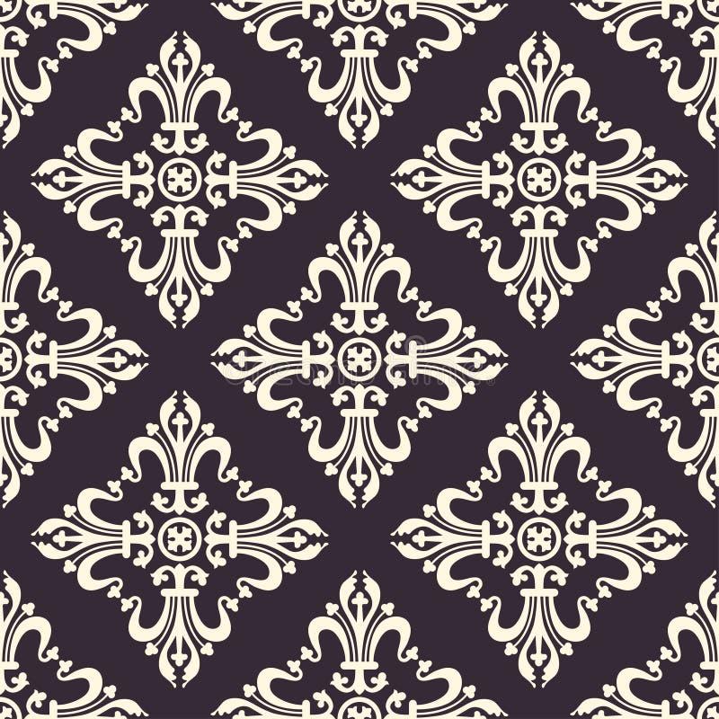葡萄酒巴洛克式的装饰品,锦缎花卉无缝的样式,传染媒介例证 在黑暗的紫色背景的米黄东方网眼图案, 向量例证