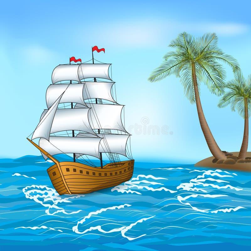 葡萄酒帆船在海 向量例证