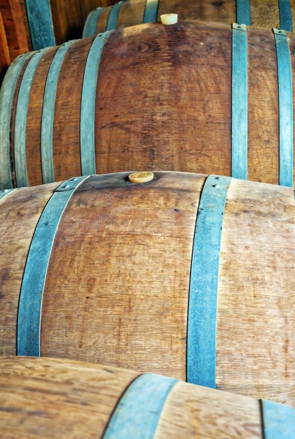 葡萄酒库的葡萄酒桶 颜色女儿图象母亲二 库存图片