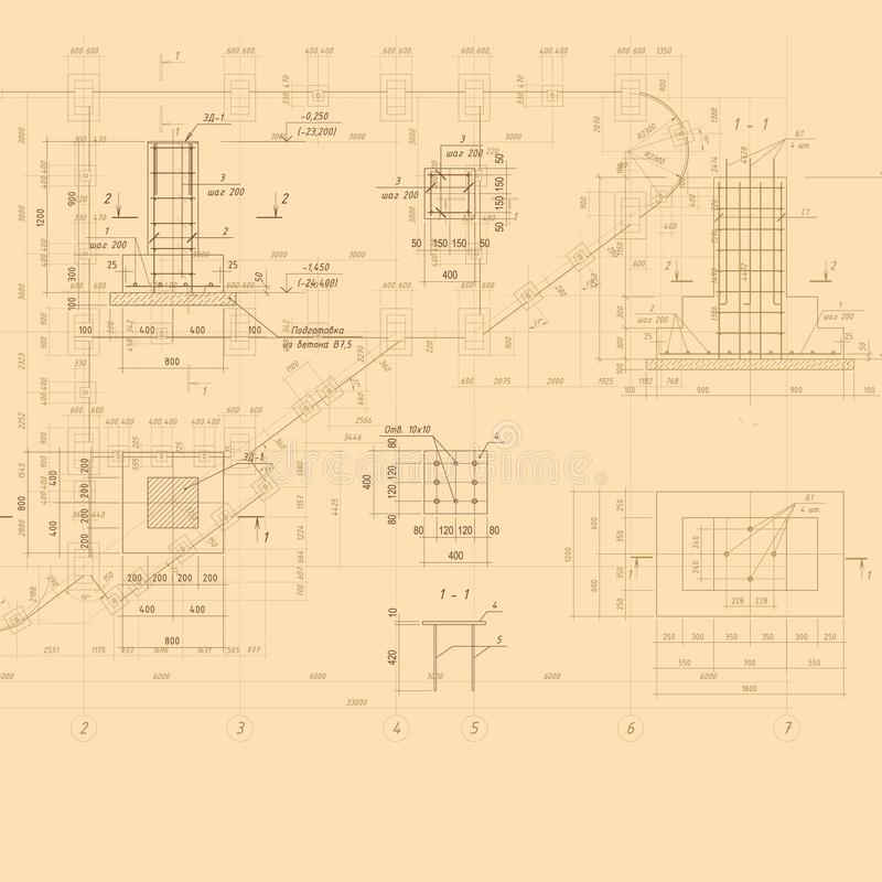 葡萄酒建筑图纸 向量背景 免版税库存照片