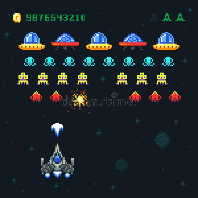 葡萄酒录影空间娱乐游戏传染媒介映象点设计用太空飞船射击子弹和外籍人 皇族释放例证