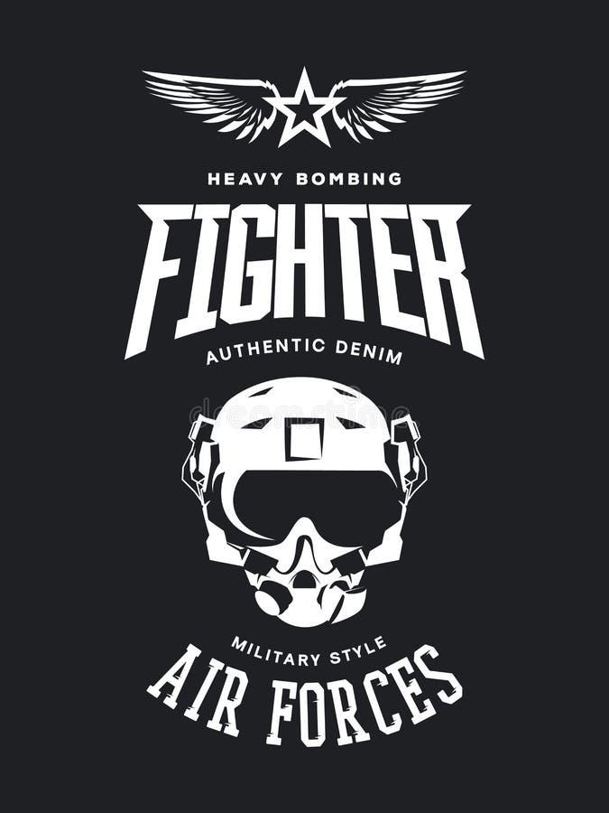 葡萄酒战斗机飞行员盔甲在黑暗的背景隔绝的传染媒介商标 皇族释放例证