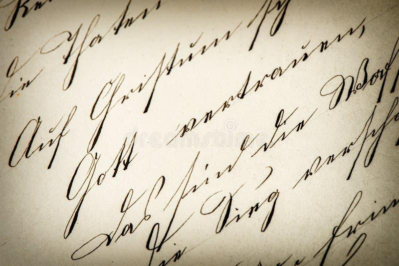 葡萄酒手写 古色古香的原稿 变老的纸张 免版税库存照片