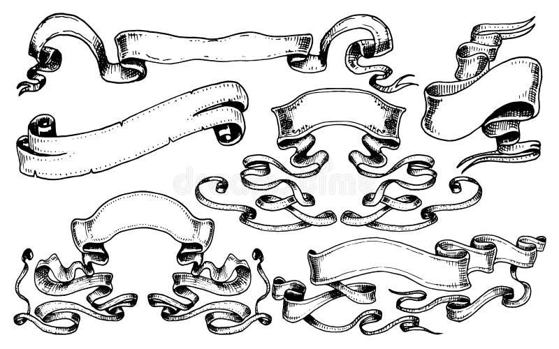 葡萄酒手拉的丝带旗子或横幅元素书或其他老看的设计的 被刻记的书法零件为 向量例证