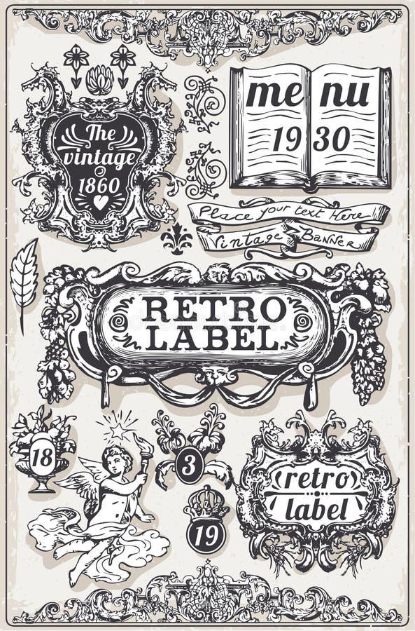葡萄酒手拉的图表横幅和标签 库存例证