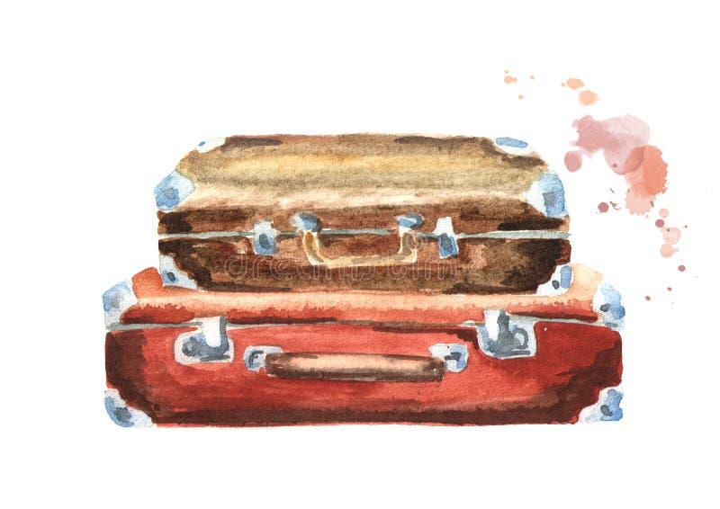 葡萄酒手提箱 背景查出的白色 水彩手拉的例证 向量例证