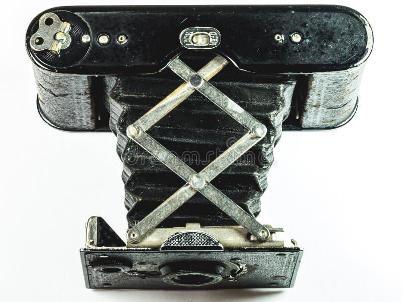 葡萄酒手风琴样式的照相机关闭 免版税库存照片
